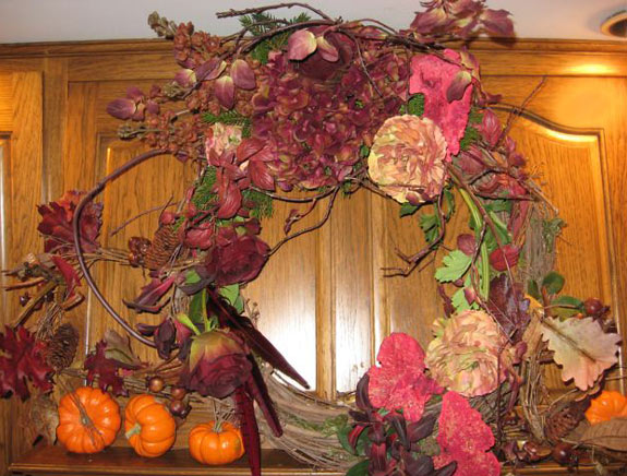 Permanent Botanical Wreath for Fall Kitchen Decor
